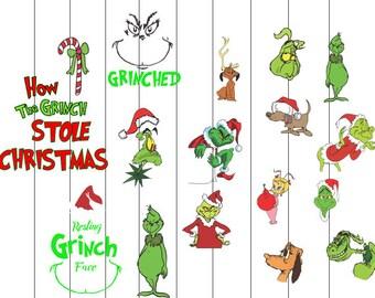 INSTANT DWNLOAD- Christmas grinch svg, grinch svg, grinchmas svg, Grinch SVG Bundle Face Hand Stole Christmas svg dxf eps jpeg format