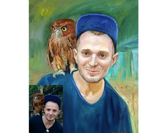 Oil painting portrait Cutom portrait from foto Gift for husband Original painting Portrait Canvas Painting Man wiht animal Made to order Art