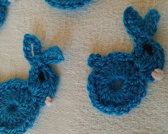 set of teal crochet bunnies