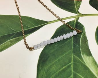 Delicate Bar Bracelet with Stone