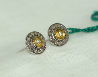 Victorian-style 1.80ctw pave diamond sterling silver round studs gold plated earrings - 2651721