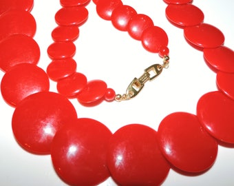 Vintage NAPIER Necklace SPACE AGE Flying Saucers Graduating Discs Lipstick Red