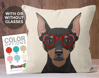 Miniature Pinscher Pillow   Min Pin   Dog Lover Gift   Girlfriend Gift   Pet Pillow   Wife Gift   Cute Gift For Her   Dog Gift   Dog Pillow