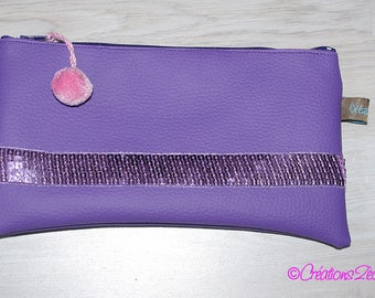 Rectangular purple and glitter deco leatherette pouch/Kit