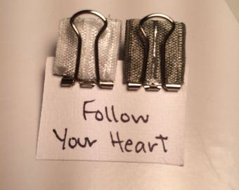 """Two Pen Clips """"Follow Your Heart"""""""