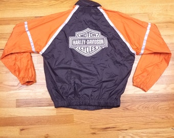 Vintage Harley Davidson Orange Windbreaker Jacket Coat Size Medium M