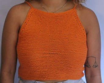 Orange knitted crop top