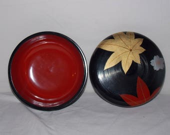 Midcentury Lacquerware Covered Serving bowl Japan Asian Oriental retro