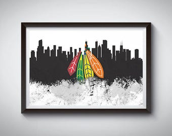 Chicago Inspired Art Poster Print, Chicago, Illinois Skyline Poster