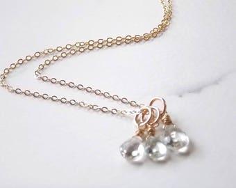 Triple White Topaz Gemstone and Gold Fill Necklace. Wedding, Topaz, Gemstones.