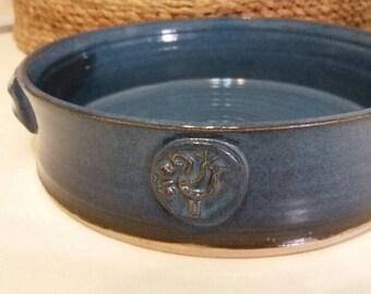 Ceramic Bowl /Handmade  Decorative Pottery /Stoneware/Round Serving,baking Bowl/ color-sea blue/ Israel Artist