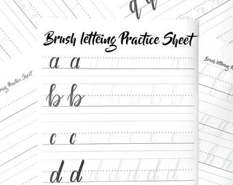 Brush Lettering,Hand Lettering Worksheet, Brush Calligraphy, Brush Lettering Worksheet, Lowercase Alphabet, Calligraphy Worksheet