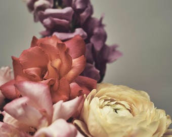 Pastel florals, Flower Photography, Still Life Photography, 8 x 10 print, Rose, Ranunculus, Snapdragon, Flowers, Pink and Purple, Home decor