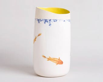 White Ceramic Vase, Decorated with Delicate Blue Ornaments and Diving Fish, Flower Vase, Modern Home Decor, Unique Gift, Home Décor & Office