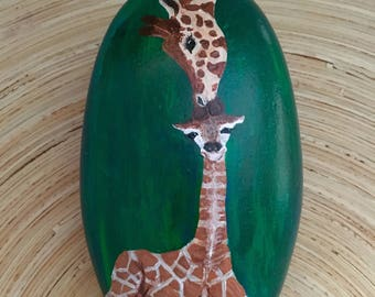 Giraffe Momma & Baby, Misha, giraffe art, mother and baby, mommy, mom, keepsake, animal art, safari, family, paperweight, gift, collectible