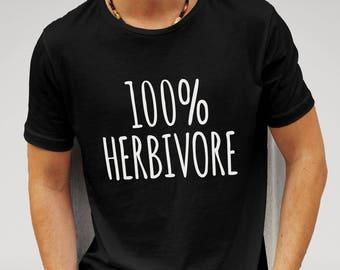 Mens Herbivore Veggie Vegetarian Vegan - Black T-shirt