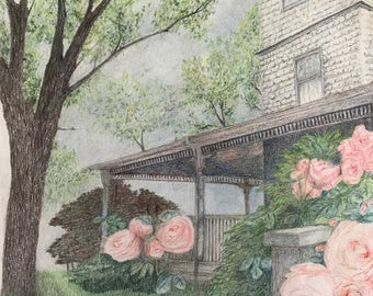 Original Colored Pencil Drawing Country Roses