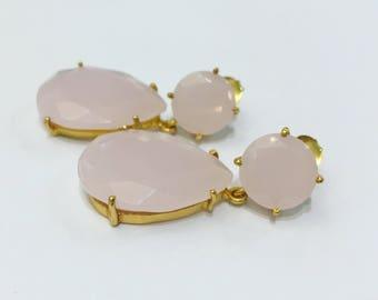 Golden Rose Quartz Earrings