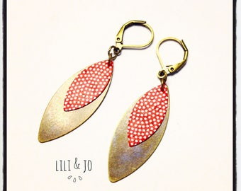Bohemian collection: double red navettes with white polka dots Stud Earrings