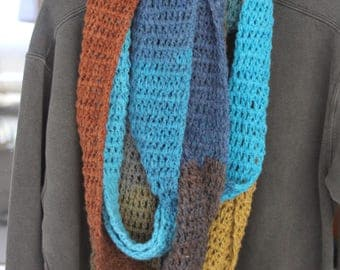 Crochet multi colored Infinity scarf