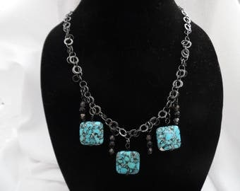 Black and Turquoise Chain Necklace