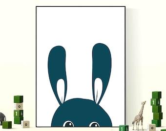 Kids Bedroom Print Nursery Art Rabbit Teal Easter Poster Kids Wall Art Decor Bedroom Poster  Childs Bedroom Nursery Gift Kids Room Gift
