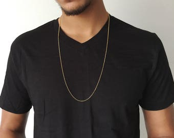 Mens Long Gold Chain Mens Long Necklace Thick Chain Thick Necklace 14K Gold Filled Chain Masculine Chain Minimal Necklace Minimal Jewelry