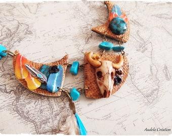 Chic Gypsy western pièce Unique polymer clay necklace