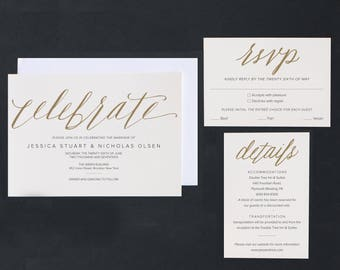 Modern wedding invitation template with calligraphy | printable wedding invitation, rsvp and details cards  | Print at-home or commercially