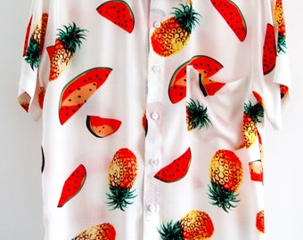 O'Carioca Pineapples + Watermelons Short Sleeve Button Up Shirt with a relaxed fit.