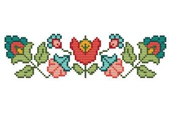 Floral cross stitch machine embroidery design,machine embroidery design,floral design,crossstitch embroidery,Flower crossstitch,Cross stitch