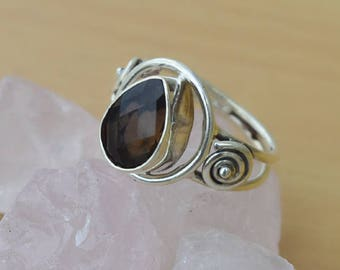 Smokey Ring-Pear Cut Smoky Quartz Ring-925 Sterling Silver Designer Ring-Birthstone Smoky Ring-Natural Stone Ring-Perfect Smoky Gift for her