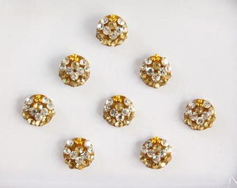 8 Gold Small Round Wedding Face Jewels,Bridal Bindis Stickers,Stone Bindis,Gold Round Bindis,Bindis,Bollywood Bindis,Self Adhesive Stickers