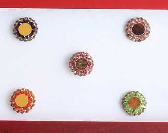 Round Bindi With Stones,Velvet Colorful Design Fashion Bindis,Wedding Round Face Jewels Bindis,Bollywood Bindis,Self Adhesive Stickers Pack