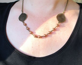 CHEAP discontinued - Bridal necklace Bohemian-bronze leaves beige Pearl glass beads.