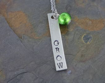 Grow- hand stamped necklace