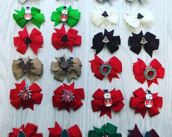 Christmas bow hair clips