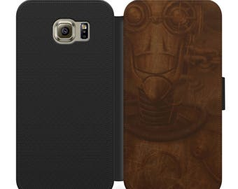 Steampunk robot flip wallet phone case for iphone 4 5 6 7, Samsung s2 s3 s4 s5 s6 s7 S8 S8 plus and more