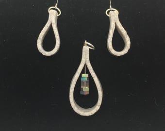 Faux-concrete pendant/earrings set