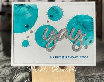Alcohol Ink Birthday Card