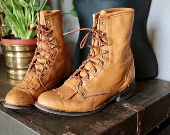 Vintage Laredo Leather Lace Up Boots, Booties, Ankle Boots, Cognac