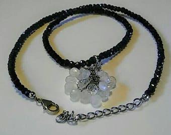 Black Spinel Rondelle Necklace with Moonstone Briolette Enhancer