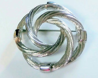 Signed Monet Vintage Circular Rings Swirl Silver Tone Brooch Pin