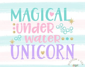 Unicorn SVG File. Magical Underwater Unicorn Svg Vacation Svg Summer Svg Nautical Svg Mermaid Sea Adventure Svg file for Silhouette & Cricut