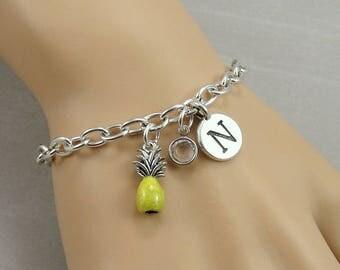 Yellow Pineapple Charm Bracelet, Pineapple Bracelet, Initial and Birthstone Bracelet, Silver Plated Link Charm Bracelet