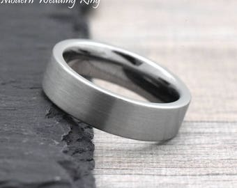 6mm 8mm Mens Womens Engagement Ring, Mens Womens Engagement Band, Tungsten Promise Ring Couples Ring, His and Hers Ring Tungsten Carbide