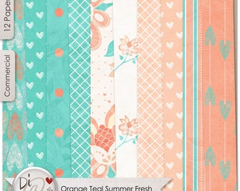Digital Papers, Teal Orange Summer Fresh, Digital Papers, Commercial Use, Use for wedding invites and Scrapkits