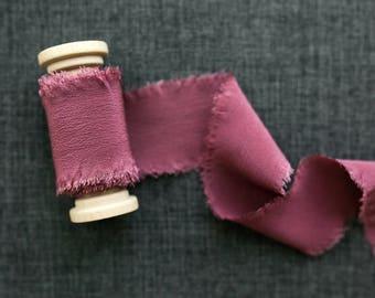 Dusted Mulberry Silk Ribbon; Crepe de Chine Silk; Mauve Wedding bridal bouquet, invitations, wedding favors, burgundy silk ribbon