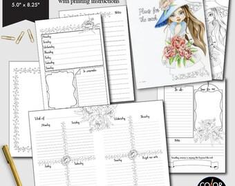 Cahier size Weekly Printable, Weekly Plan Printable Planner Insert.  CMP-224.3
