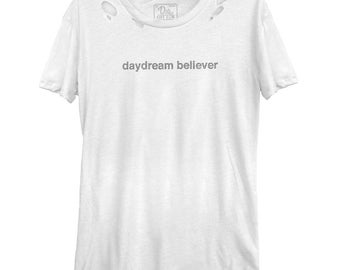 Daydream Believer Women's Casual Tee (DCS0736-542WHT) cozy tee, daydreamer, clouds, thinker, trendy tee, soft tee